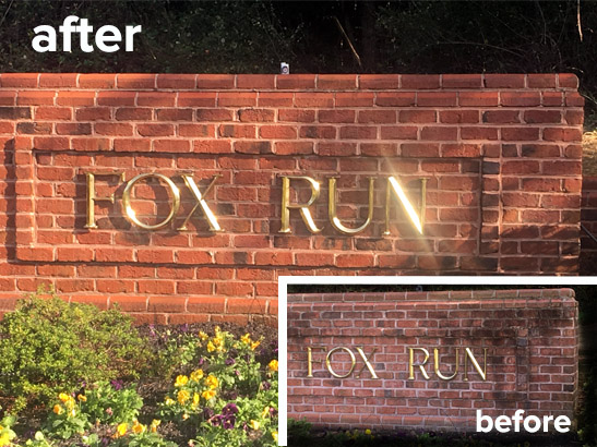 Brick cleaning in Jarretsville Md. Community entrance sign cleaned to perfection