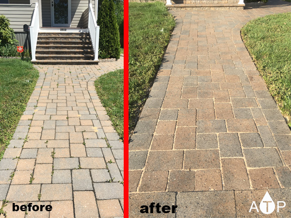 Front of the house brick side walk cleaned and sealed in Falston, Md