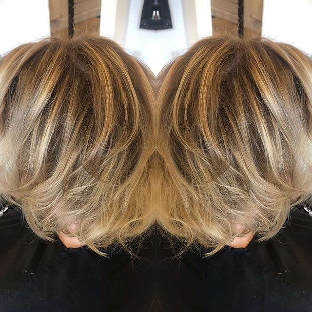 Who said you can't balayage short hair was wrong!!! Love love love this dark ash blonde rooty with fabulous blonde balayaged throughout ... ammonia free all the way finished with a quick messy curl with cloud nine straighteners ... messy & just out of bed look! #paint #hale #cheshire #diarichesse #balayagehighlights #ammoniafreecolor #karen #bob #cloudnine