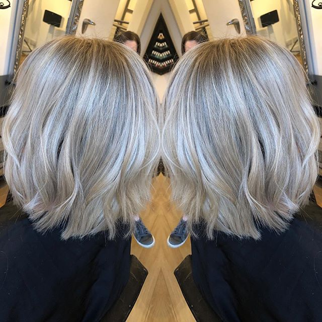 Full head of beautiful highlights by Nicole.  Cut & blown by Karen finished with a wave .... #paint #hale #cheshire #blonde #bob #ammoniafreecolor #diarichesse