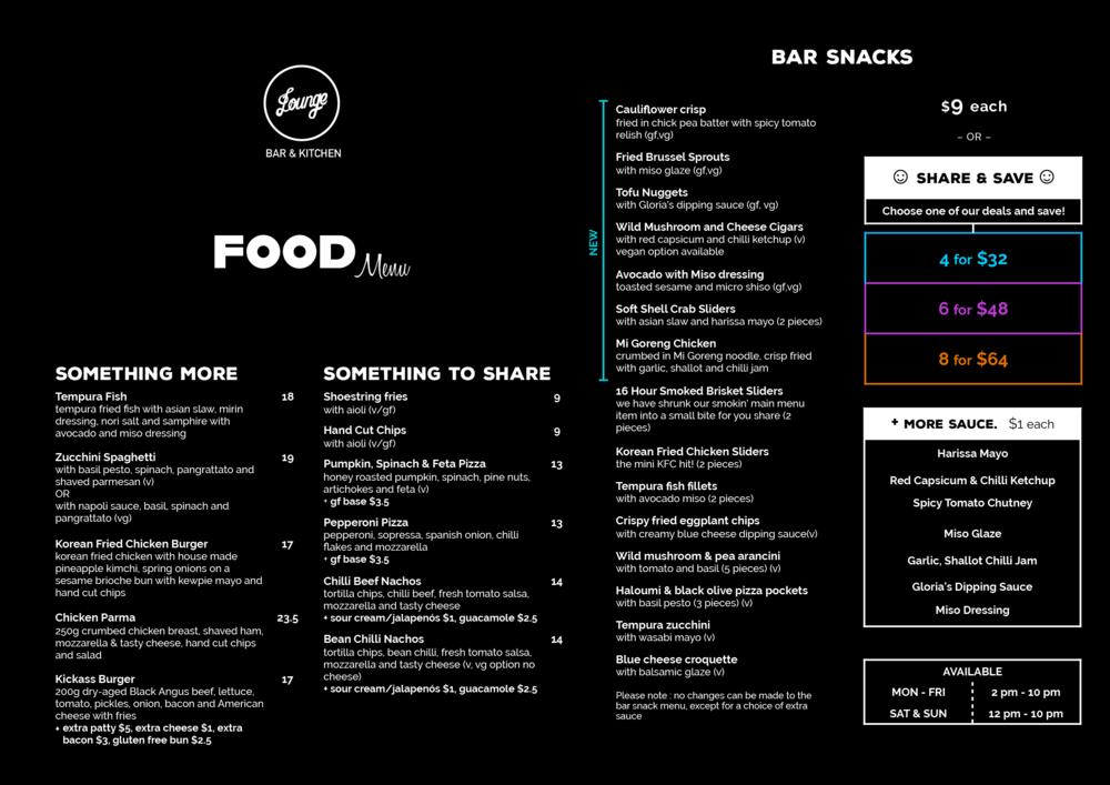 Lounge Food Menu