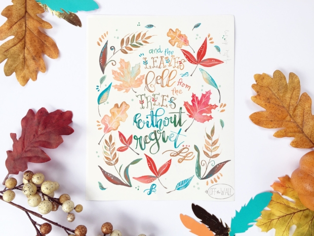 Fall Leaves Handlettered Watercolor Print by Off The Wall Home.  offthewallhome.etsy.com