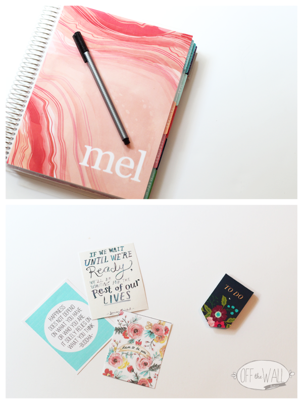 Use the things in your planner that inspire you.  For me this is color, art, and quotes.  I see open my planner daily so it's important to me that I'm inspired when I do.  These happy little stickers were purchased and downloaded off of Etsy.  Thanks Mandy for that sweet little happy!