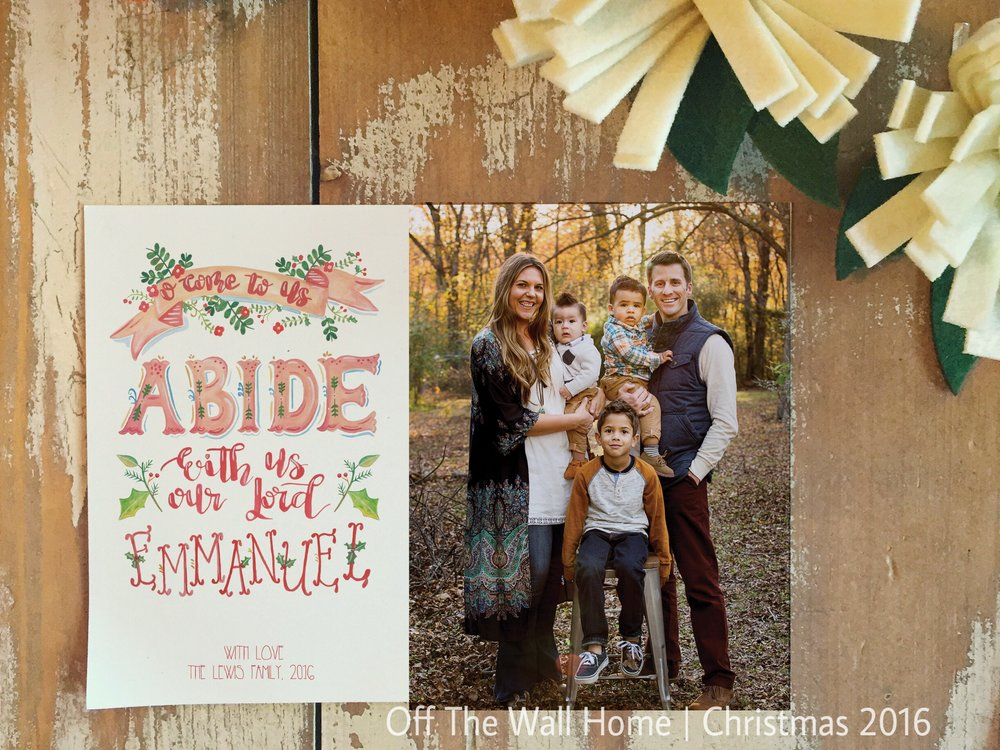 Abide With Us Hand Lettered Water Color Custom Photo Christmas Card by Off The Wall Home at www.offthewallhome.etsy.com