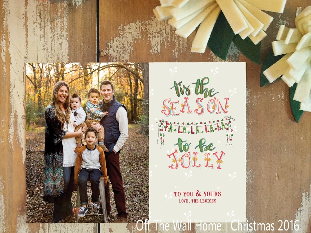 Hand Lettered Water Color Custom Christmas Card by Off The Wall Home at www.offthewallhome.etsy.com