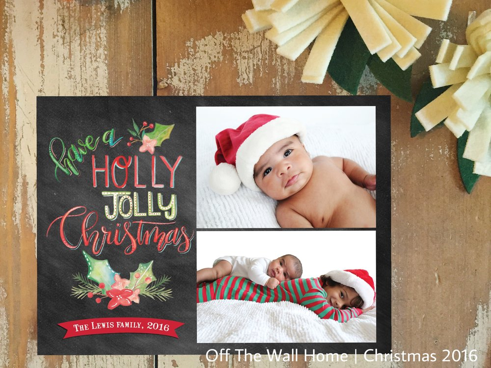 Holly Jolly Hand Lettered Chalkboard Custom Photo Christmas Card by Off The Wall Home at www.offthewallhome.etsy.com