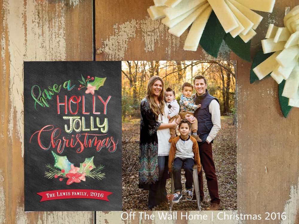 Holly Jolly Hand Lettered Watercolor Custom Photo Christmas Card by Off The Wall Home at www.offthewallhome.etsy.com