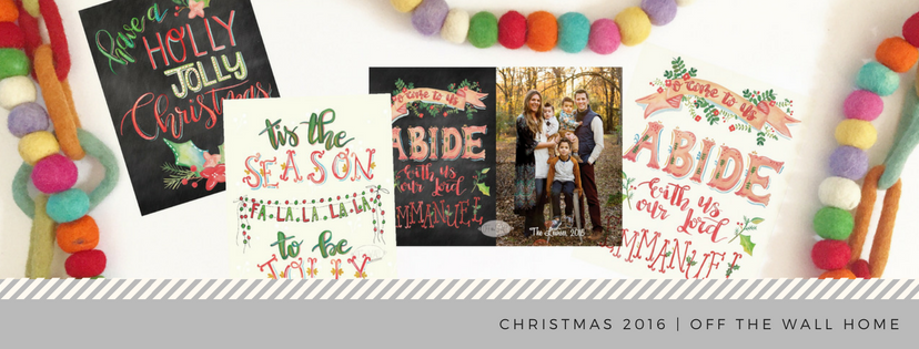 Hand Lettered Water Color Custom Photo Christmas Cards & Prints by Off The Wall Home