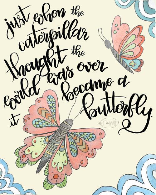 Childrens Wall Art boho nursery print, caterpillar became a butterfly, girl room