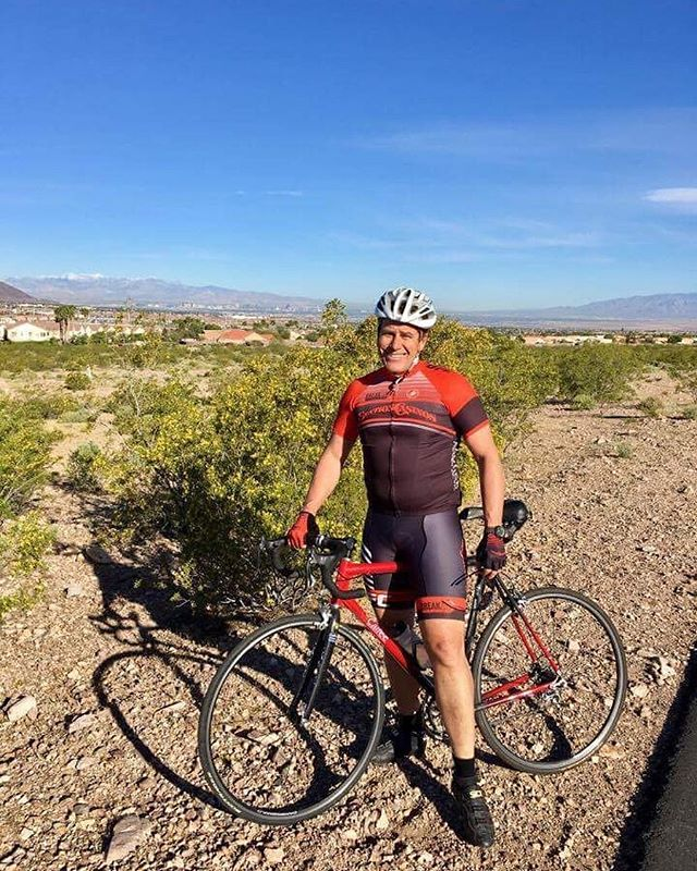 It's a beautiful morning on #teammatetuesday. Take a minute to read about Jim. What is your nickname?  Jimbo What is your favorite food for on the bike?  Doughnuts What kind of bike do you ride?  Red and Black #Calfee  Who is your favorite pro cyclist?  Lance Armstrong  because he will Win at Anything! (and he put cycling on the map) @lancearmstrong What is your favorite Station Casino?  Green Valley Ranch but now with our move…. We live closer to Red Rock ☺ @greenvalleyranch Tell us about your favorite ride/race/gran fondo.  Rosarita Encinatas Ride (early days) first time wearing a helmet 14,000 people at the start and tecati beer at the finish! What is the farthest you've ridden?  Malibu Double metric  If you were a bike part, what would you be?  Jill's #saddle LOL! Can you name at least four of our sponsors?  Red Rock, UFC, West Animal hospital, and Procyclery On the bike, I am pretty good at.....? avoiding the #crash On the bike, I am terrible at....? maintaining a #pace My bucket list ride would be ....? coast to coast #bike packing