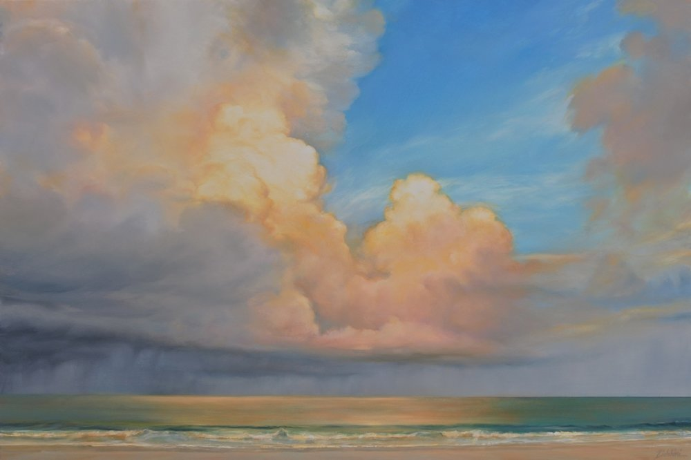 "Florida Sky 38  (sold) oil on board, 24"" x 36"" 2015"