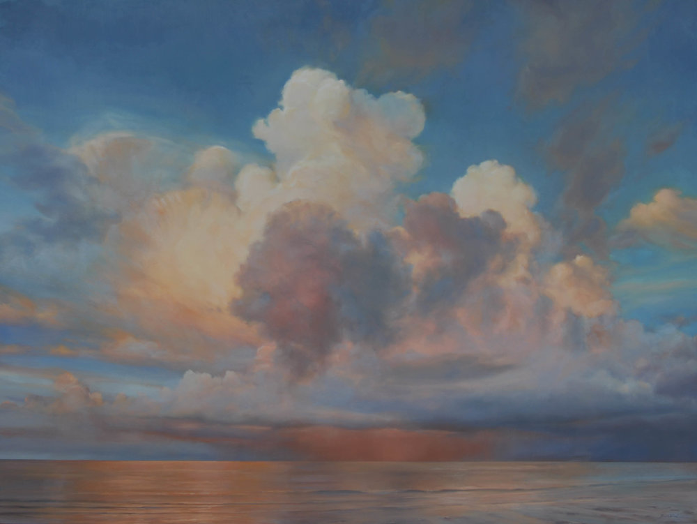 "Florida Sky 19  (sold) oil on board, 36"" x 48"" 2012"