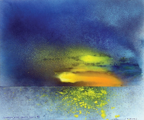 "Sundown, Pine Island #1  mixed media on paper, 14"" x 17"" 2004"