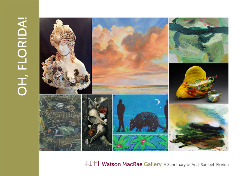 Click Image to Englarge | Artist and artwork clockwise from top left:  L. Venditto, Ambrosia; G. Biolchini, Florida Sky 41; H. Jeffcoat, Gulf; Cia Thorne, blown glass shells; D. Bannard, Tooke Lake; L. Hunsaker, Wanderlust #2: Armadillo; T. Staples, Shells with Maloe Flowers; O. Gray, Bathing Alligators