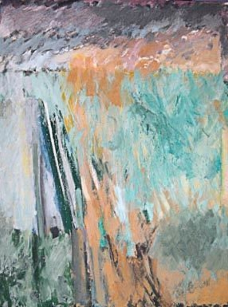 "Les Oies Blanches II  oil on linen, 51"" x 38"" 1983"