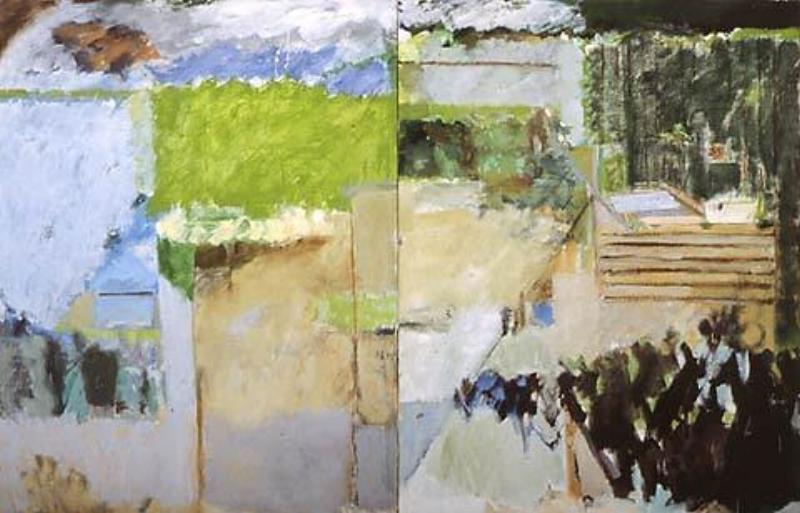 """La Ferme II  oil on linen, 47"""" x 71"""" 1982"""