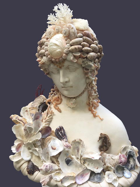 Antonia  (front),  sold  seashell sculpture