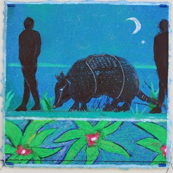 "Wanderlust #2: Armadillo  mixed media, 6"" x 6"" 2014"