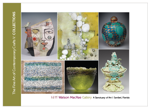 Click Image to Enlarge   | Artists and artwork clockwise from top left: S. Zachariah ceramic sculpture; S. Dorn mixed media; M. Knott soda fired vessel; K. Maury porcelain sculpture; P. Roberts pâte de verre vessel; M. Tsinamdzgvrishvili silk construction.