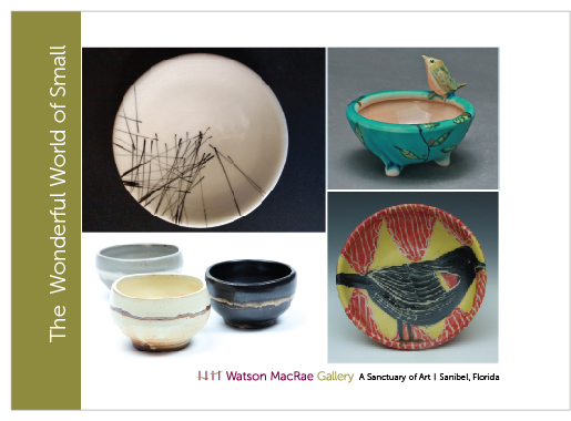 Click Image to Englarge   | Artist and artwork clockwise from top left:  B. Williams ceramic plate; L. Dierks porcelain bowl; W. Olson carved and painted plate; C. Martin wood-fired bowls.