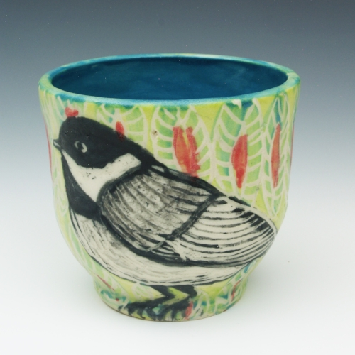 Black and White Bird Cup  painted pottery