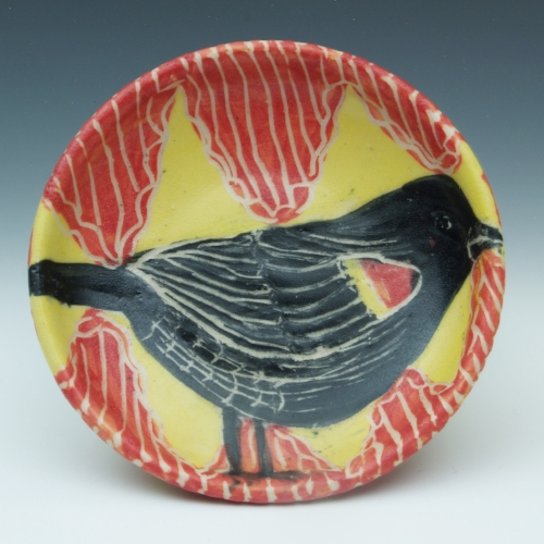 Blackbird Plate  painted pottery