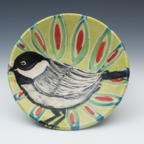 Black and White Bird Plate  painted pottery