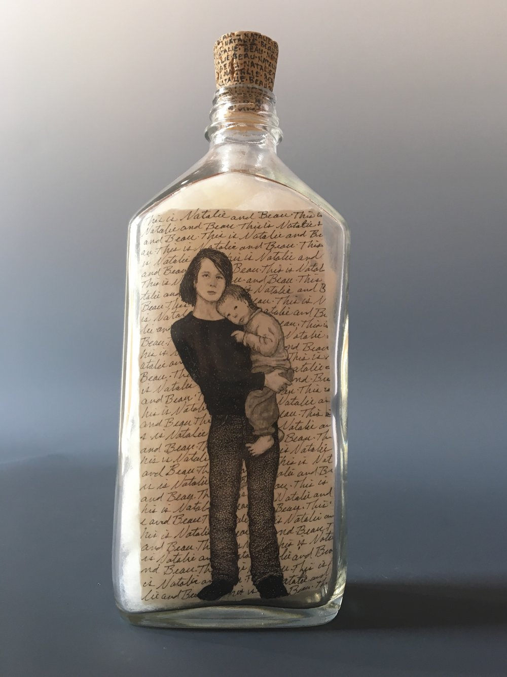 This is Natalie and Beau...They're Exhausted.  bottle drawing; ink, graphite, white charcoal on handmade paper, glass bottle, wool