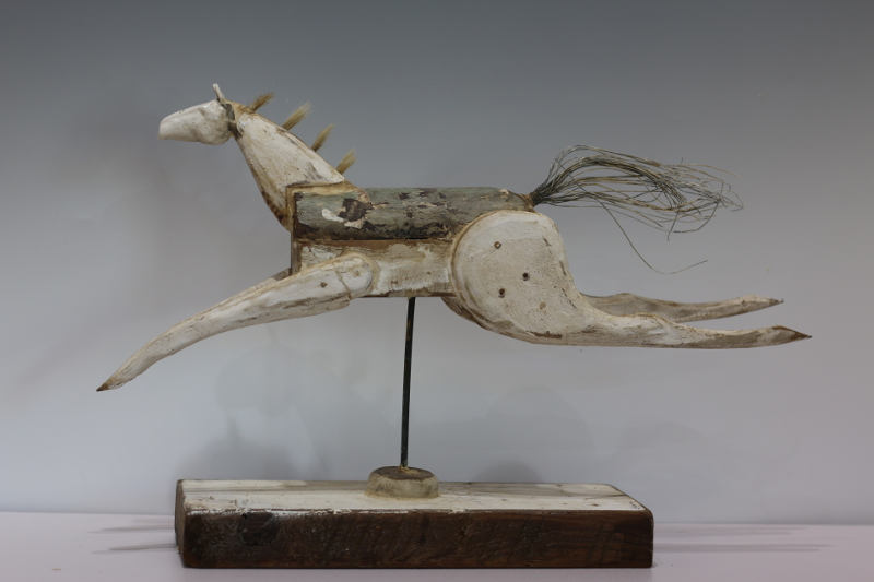Horse 14x21x5, Pedestal Porcelain, altered wood, metal
