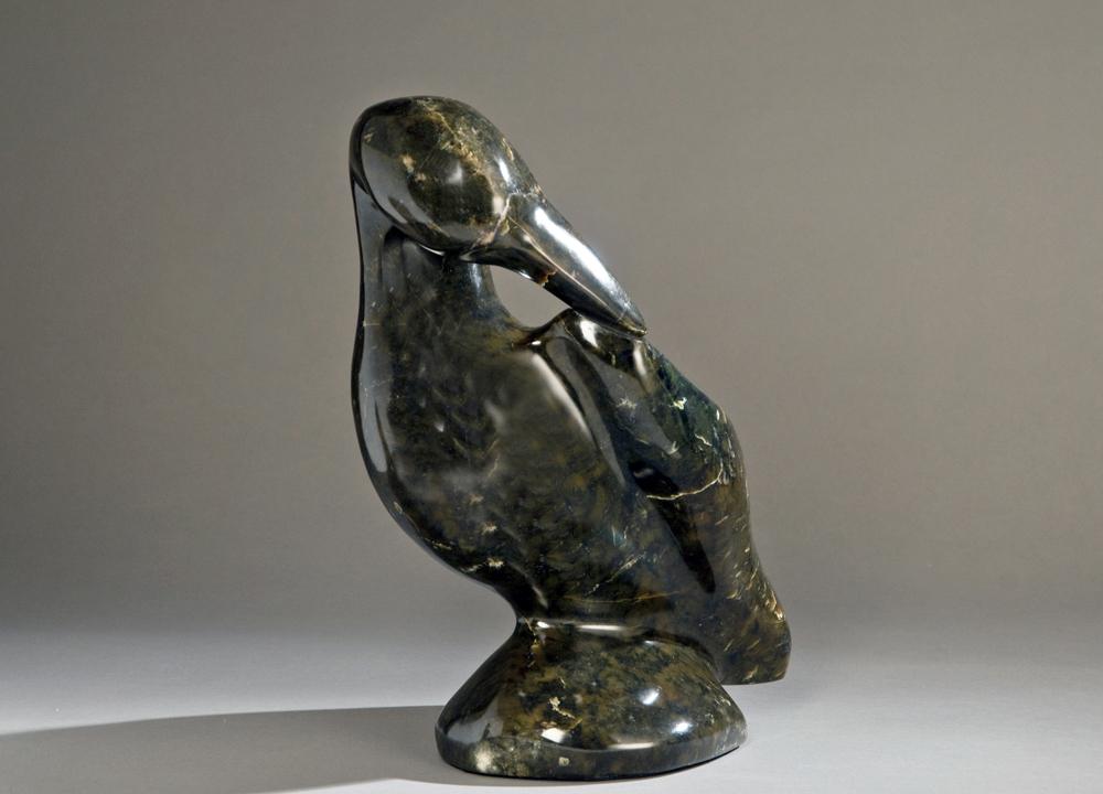 "Preening Green Heron  9x6x13"" Chloride Stone"