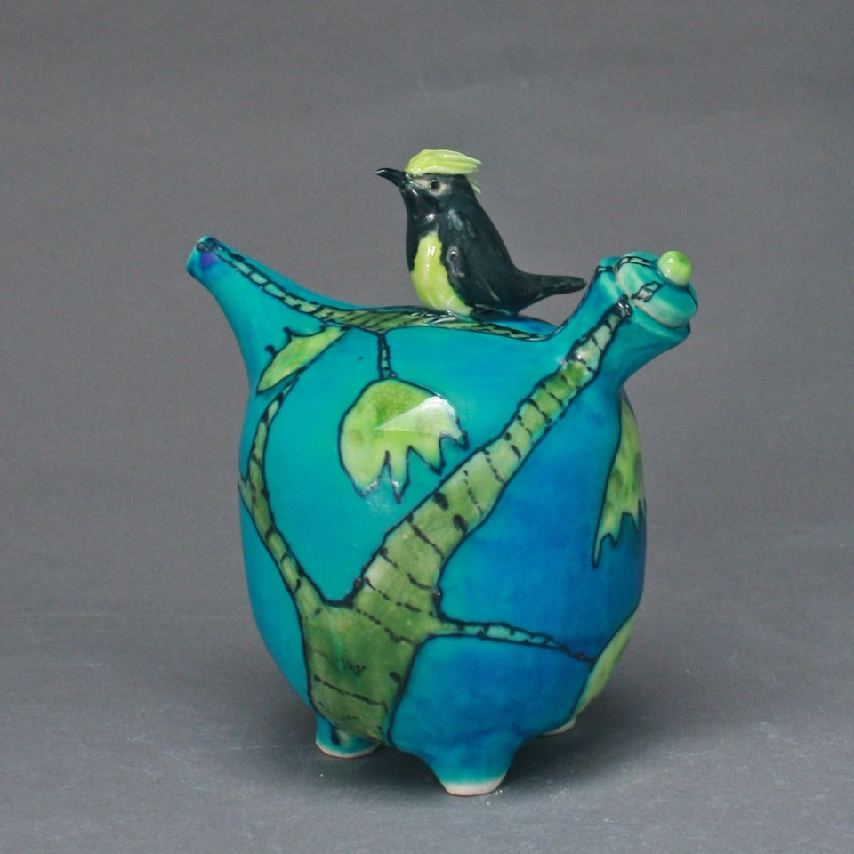 Turquoise Oil Cruet with Sultan Tit