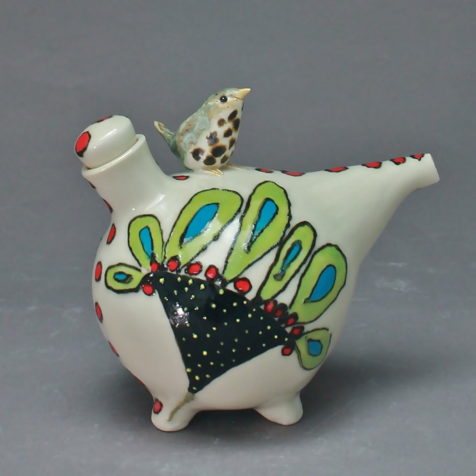 White Flowered Oil Cruet with Thrush