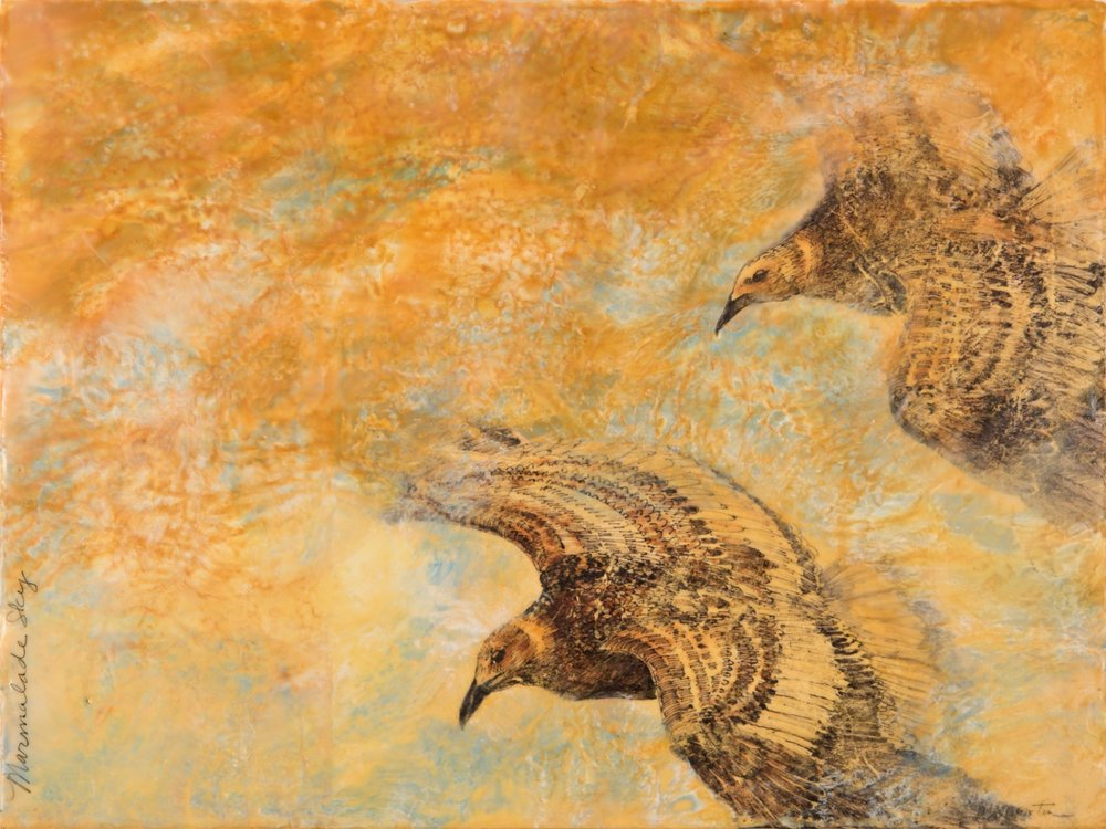 Marmalade Sky  Ink, Encaustic on paper mounted on board