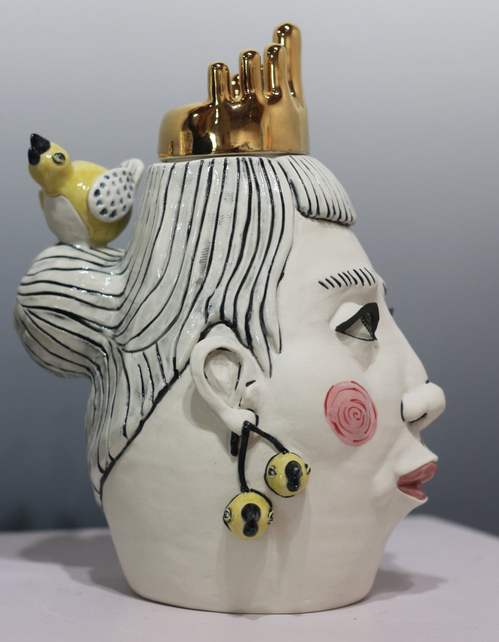 "SOLD The Last of the Bird Earrings (Side View)  11""Hx9""Lx7""W, Porcelain lidded jar"