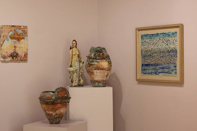 #inthegallery #sheenafliegel #ceramic #clay #tablets #painting #drawing with #silk construction by Maia Tsinamdzgvrishvili #beautifulart #sanibel #watmac