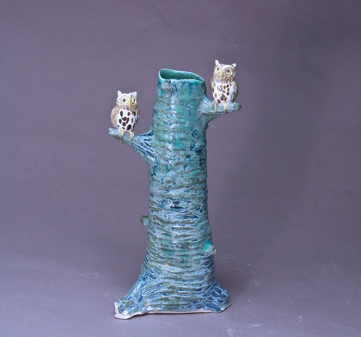 porcelain branch vase with owls