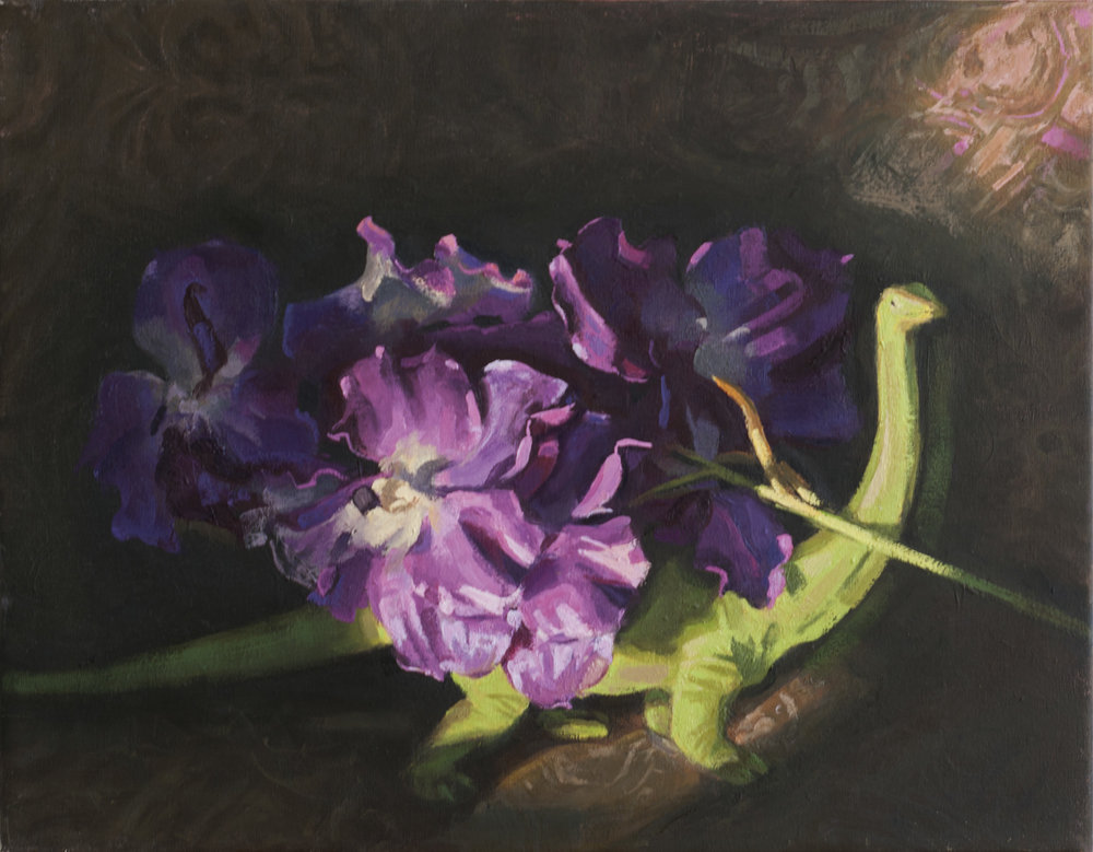 Brachiosaurus and the Burden of Orchids  oil on linen, 2017 18x14""