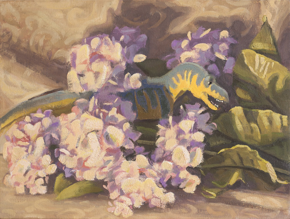 T-Rex and Hydrangea  oil on linen, 2017 9x12""