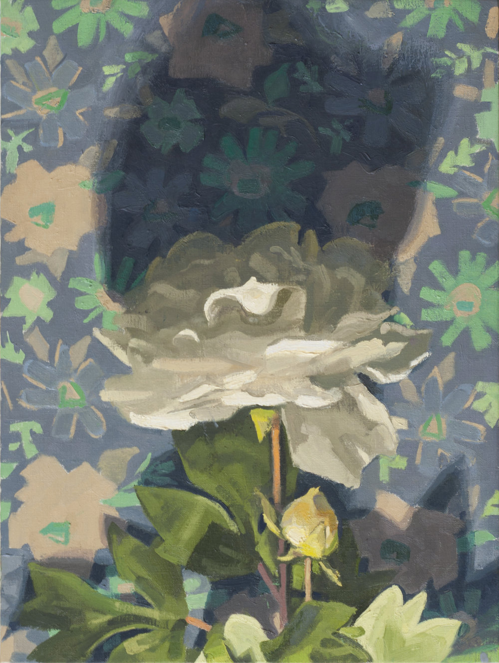White Dahlia and Blue Patterned Cloth  oil on linen, 2018 12x16""