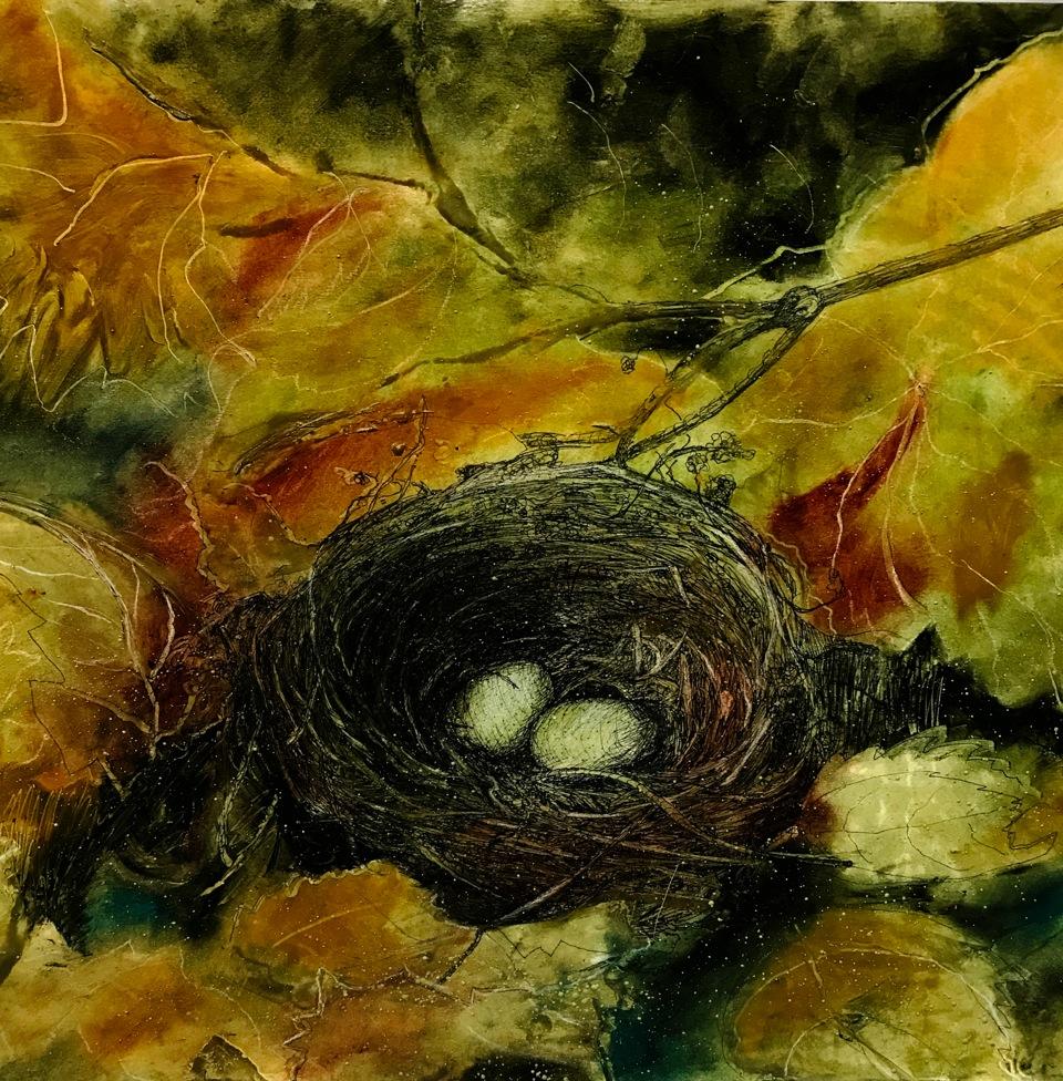 "Hidden Nest, 20x28"" oil pastel and ink"