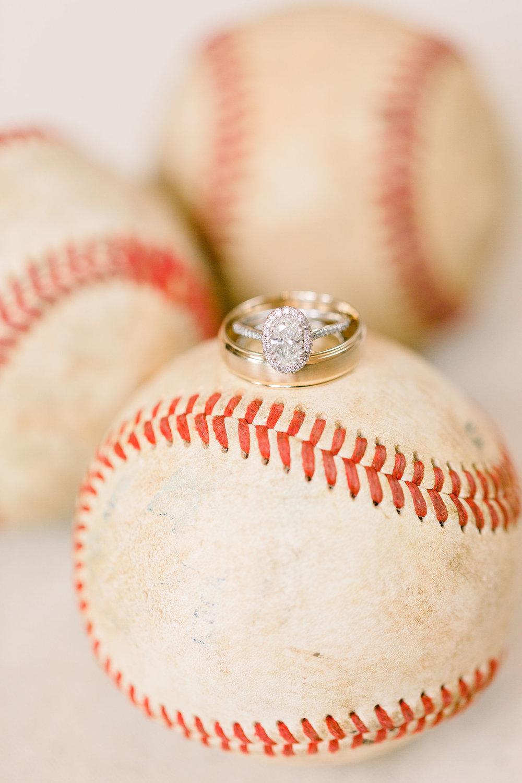 baseball wedding ring detail shot