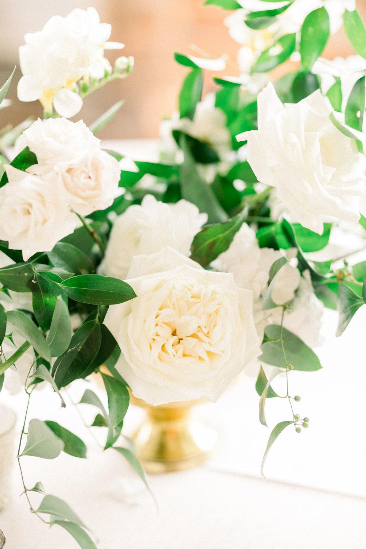 white wedding floral arrangement