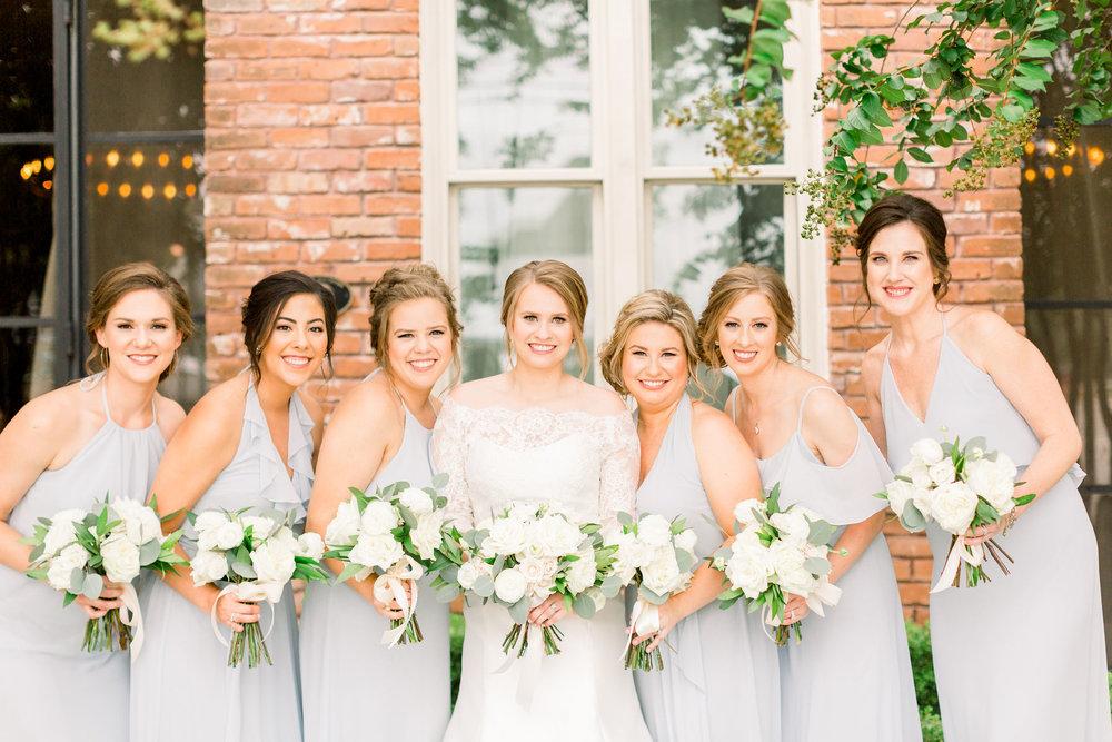 Station 3 houston wedding white and blue bridesmaids