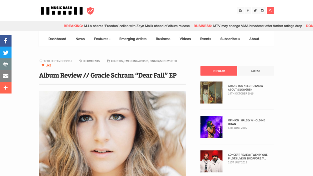 Gracie Schram - Music Dash EP Review