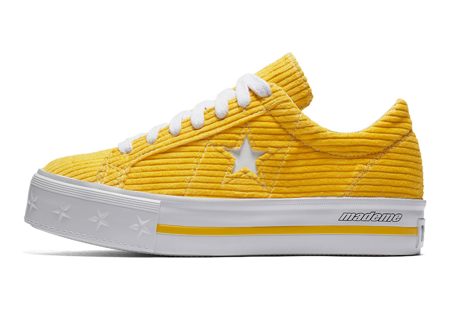 Converse One Star X MadeMe Corduroy Platform Sneaker - Purchase these MadeMe collabs in this color and more at Urban Outfitters for $110.