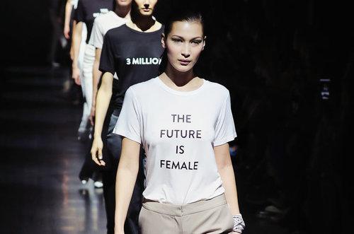 905b19adccf9 Bella Hadid sporting Prabal Gurung s feminist shirt at his 2016 New York  Fashion Week Show.