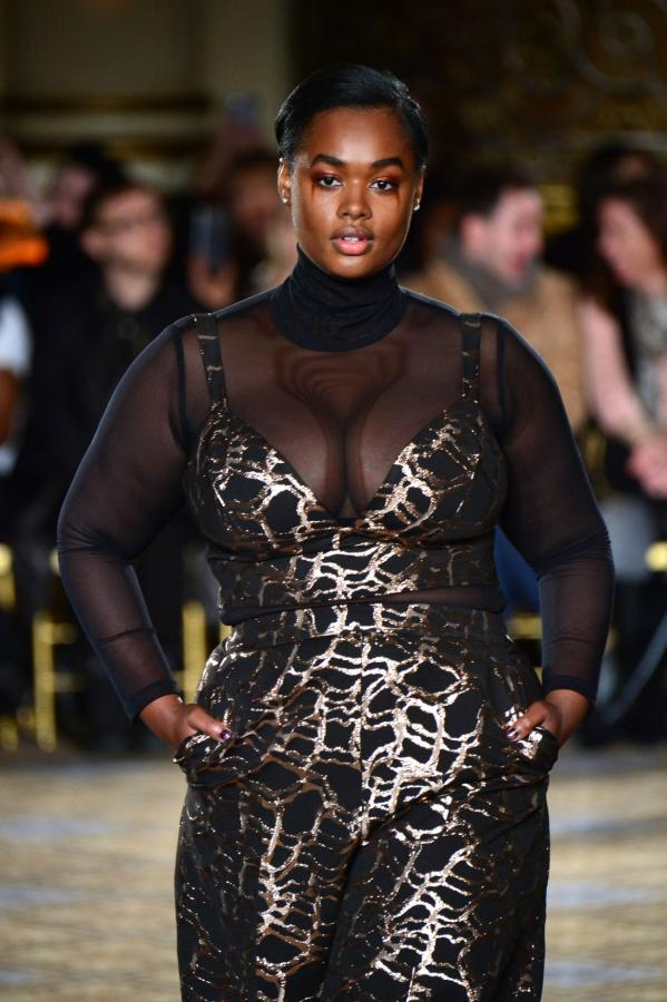 A plus-sized model sports Christian Siriano's design at his 2017 New York Fashion Week Show.