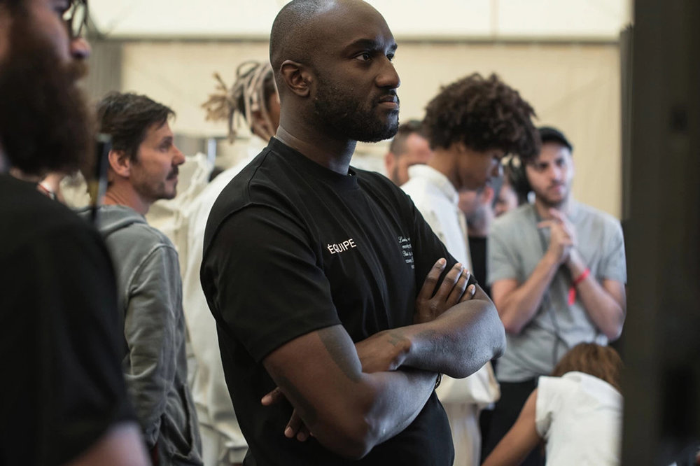 Designer Virgil Abloh backstage at his first Louis Vuitton Men's Show in Paris, France.