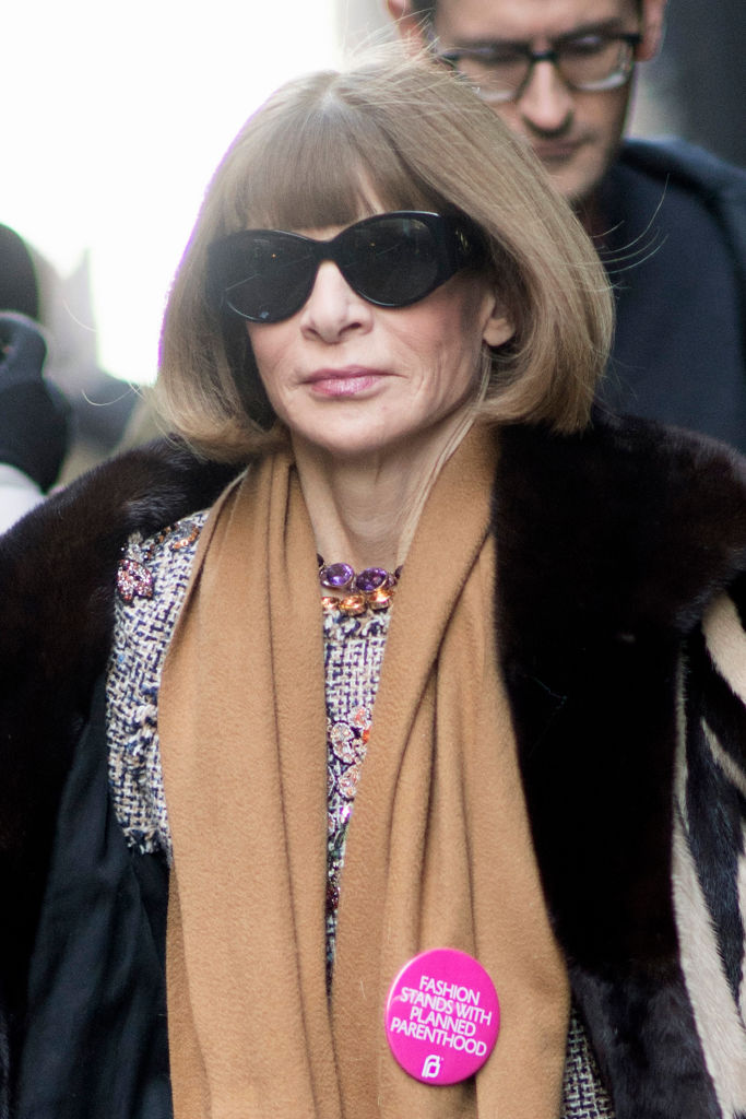 Vogue editor-in-chief Anna Wintour sporting a Planned Parenthood badge.