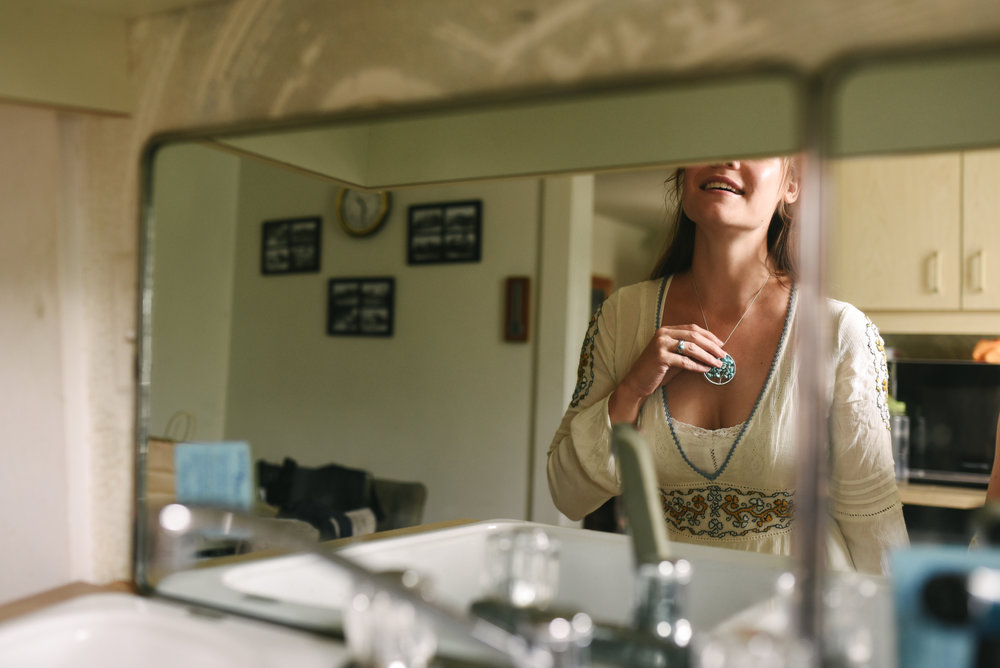 Mountains, Outdoors, Rustic, West Virginia, Maryland Wedding Photographer, DIY, Casual, Bride getting ready in mirror before ceremony